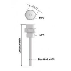 Doigt de gant laiton nickelé 1/2 G x 100 mm pour sonde de 6 mm