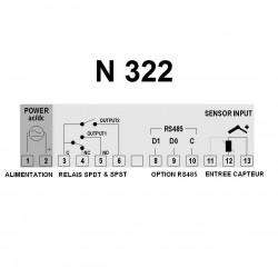 Indicateur thermostat entrée Pt100 alimentation 230 Vac, 2 relais de sortie