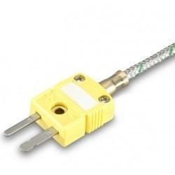 Thermocouple chemisé K, sortie câble fibre de verre avec connecteur miniature