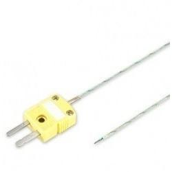 Thermocouple K isolé soie de verre sur connecteur miniature