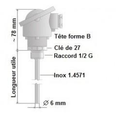 Sonde lisse avec tête forme B, Pt100 et Pt1000