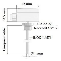 """Sonde Pt1000 diamètre 6 x 400 mm avec doigt de gant inox 1/2"""" G"""