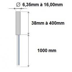 Cartouche chauffante diamètre 6,35x38mm de 150Watt