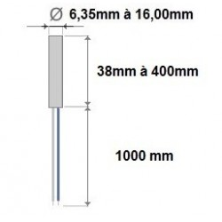 Cartouche chauffante diamètre 12,5x160mm de 800Watt