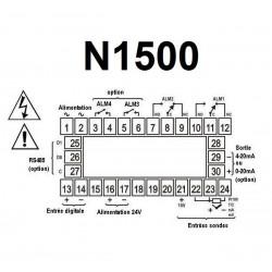 Indicateur 48 x 96 entrée universelle alimentation 230 Vac 4 relais et sortie 4-20 mA RS485