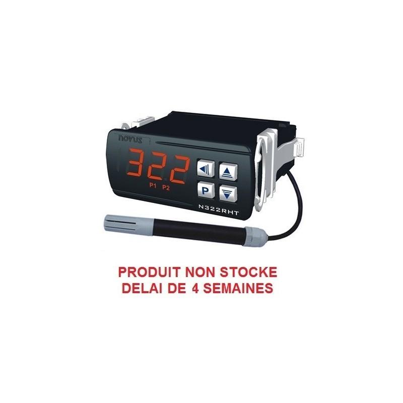 Indicateur thermostat humidité et température en 24 V ac/dc, 2 relais